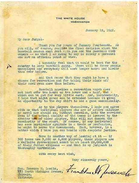 Roosevelt Green Light Letter Says Play Ball