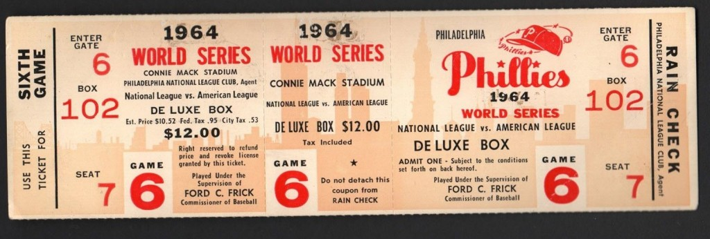 Phillies 1964 World Series Ticket