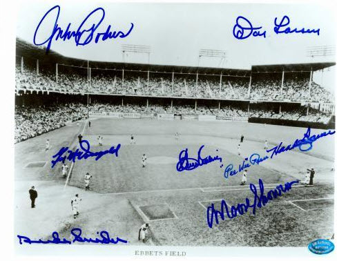 1955 World Series Brooklyn Dodgers versus New York Yankees autographed 8x10 photo of Ebbets Field D Snider Reese Podres Larsen Skowron Labine McDougald.