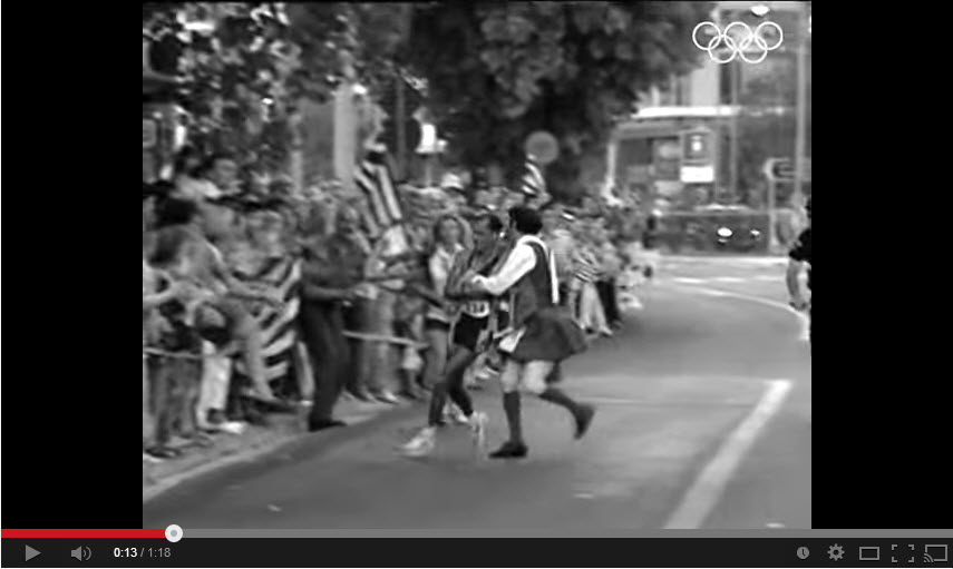Olympic Marathon 2004 Athens, leader is taken out by deranged protester