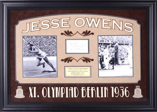 "esse Owens Deluxe Horizontal Framed Collectible With 2.5"" X 3.5"" Autographed Cut"