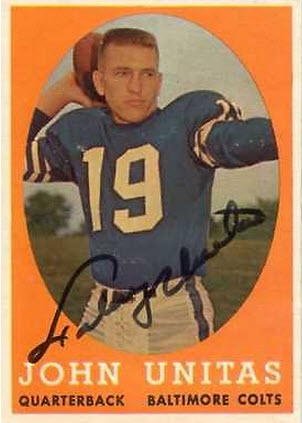 Johnny Unitas 1958 Autographed  Card