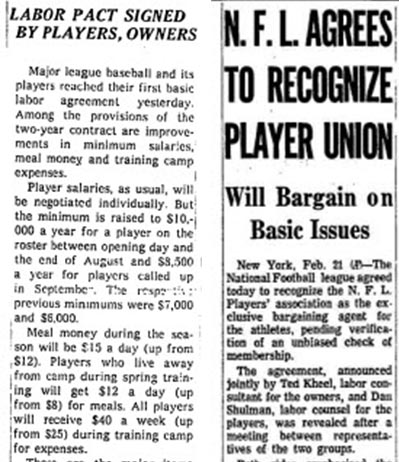 MLB signed its first labor agreement on the same day the NFL recognized the union